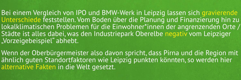 Vergleich von IPO und BMW-Werk Leipzig. Nachteile des Industriepark Oberelbe überwiegen.