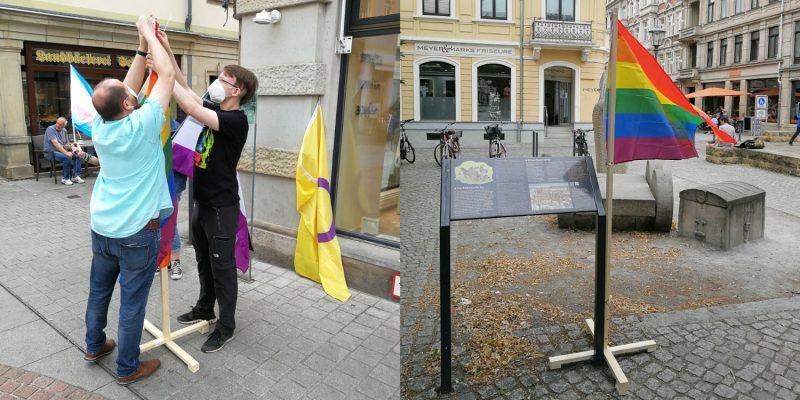 Die erste Regenbogenfahne brachten wir an der Windrose auf der Dohnaischen Straße an. Die letzte platzierten wir am Dohnaischen Platz, nahe der Breiten Straße.