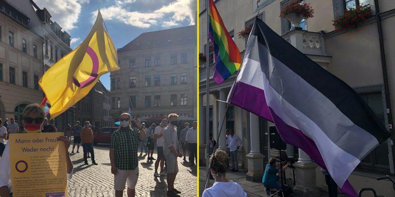 Verschiedene Pride Flags waren vertreten. Was sie bedeuten? Das lesen Sie und lest ihr im unten verlinkten Beitrag des Queer Lexikon.