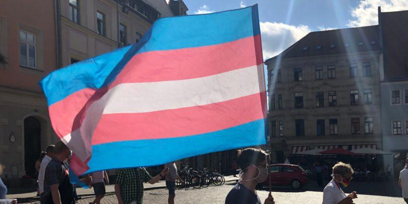 Hier die Transflagge in Aktion, beim CSD-Ersatzevent auf dem Marktplatz in Pirna